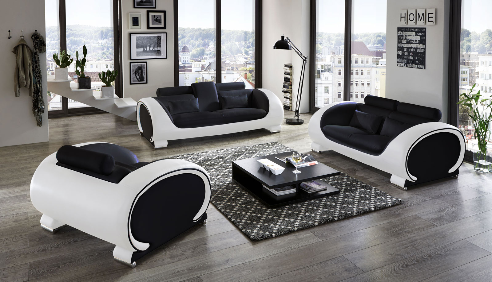 sam sofa garnitur 3tlg in schwarz wei vigo 3 2 1 auf lager. Black Bedroom Furniture Sets. Home Design Ideas