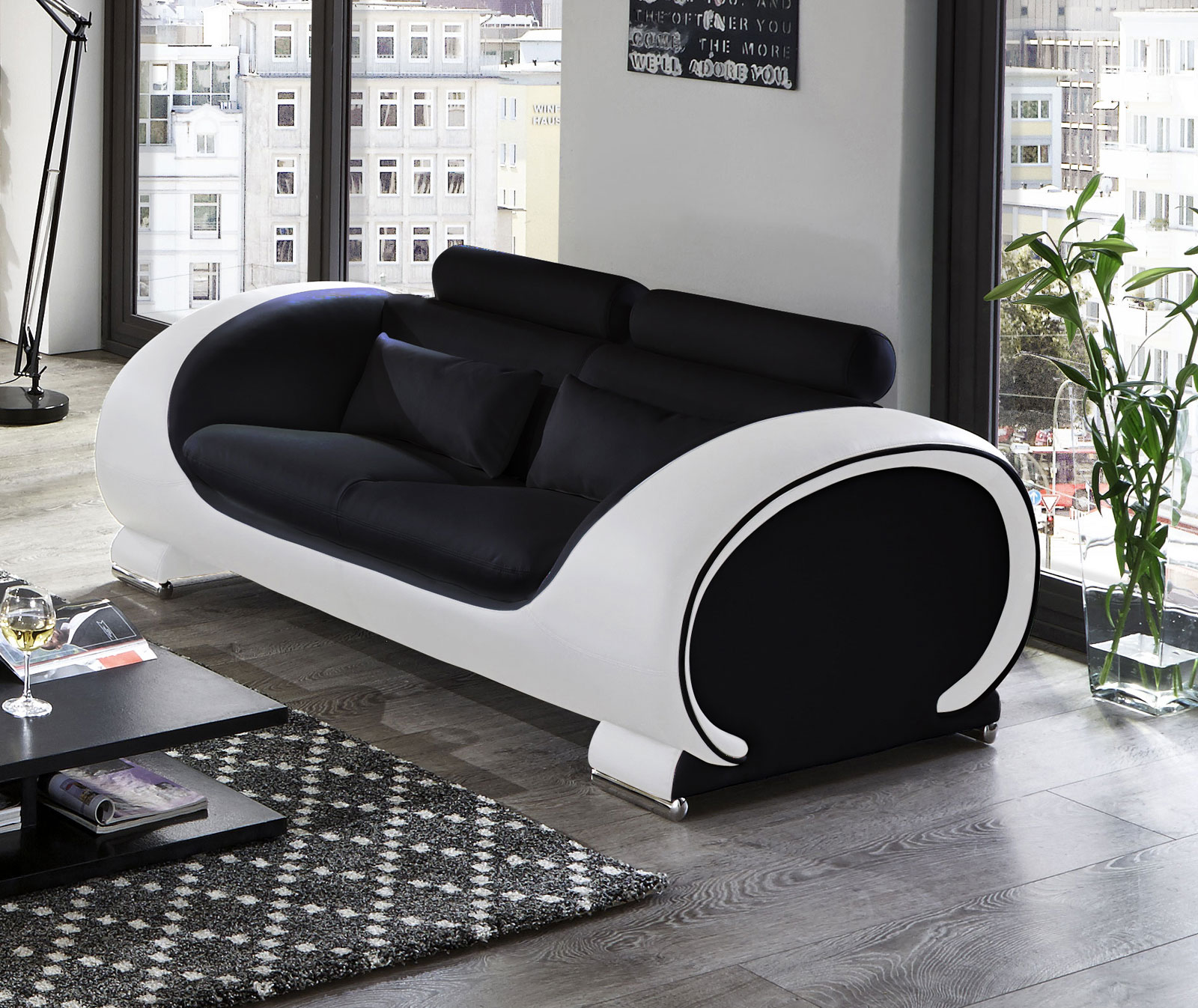 sam sofa garnitur 3tlg in schwarz wei vigo 3 2 1 auf. Black Bedroom Furniture Sets. Home Design Ideas