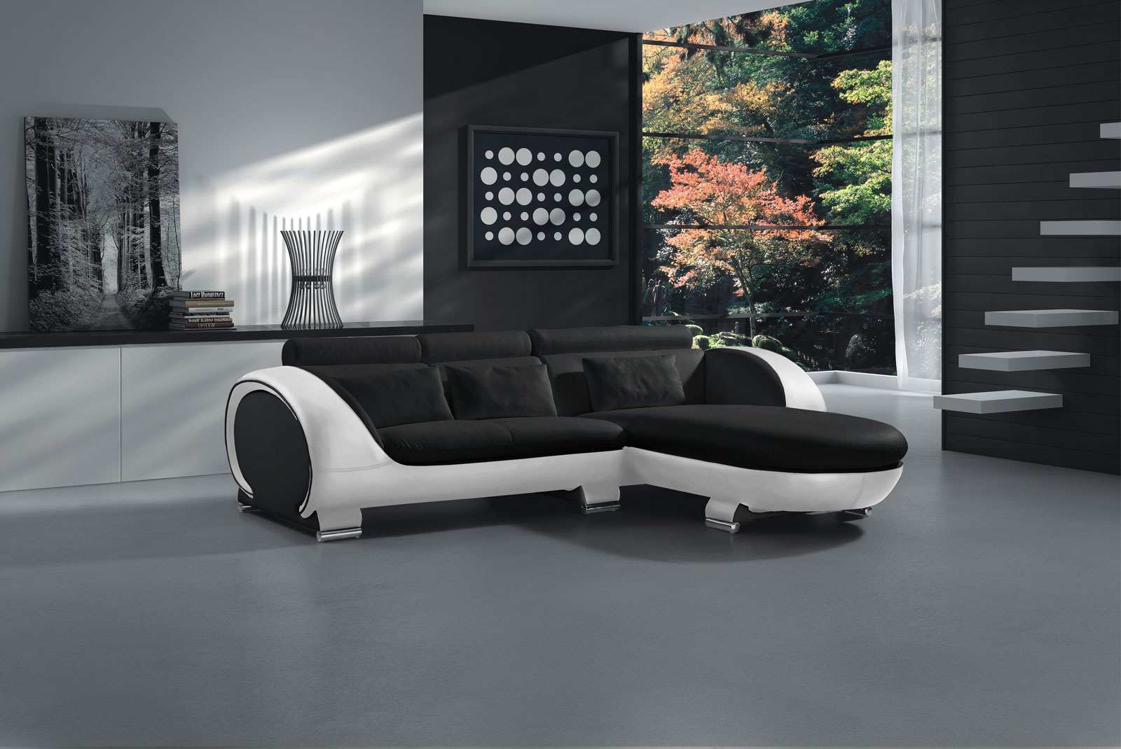 sam sofa schwarz wei vigo combi 1 couch 242 x 181 cm auf. Black Bedroom Furniture Sets. Home Design Ideas