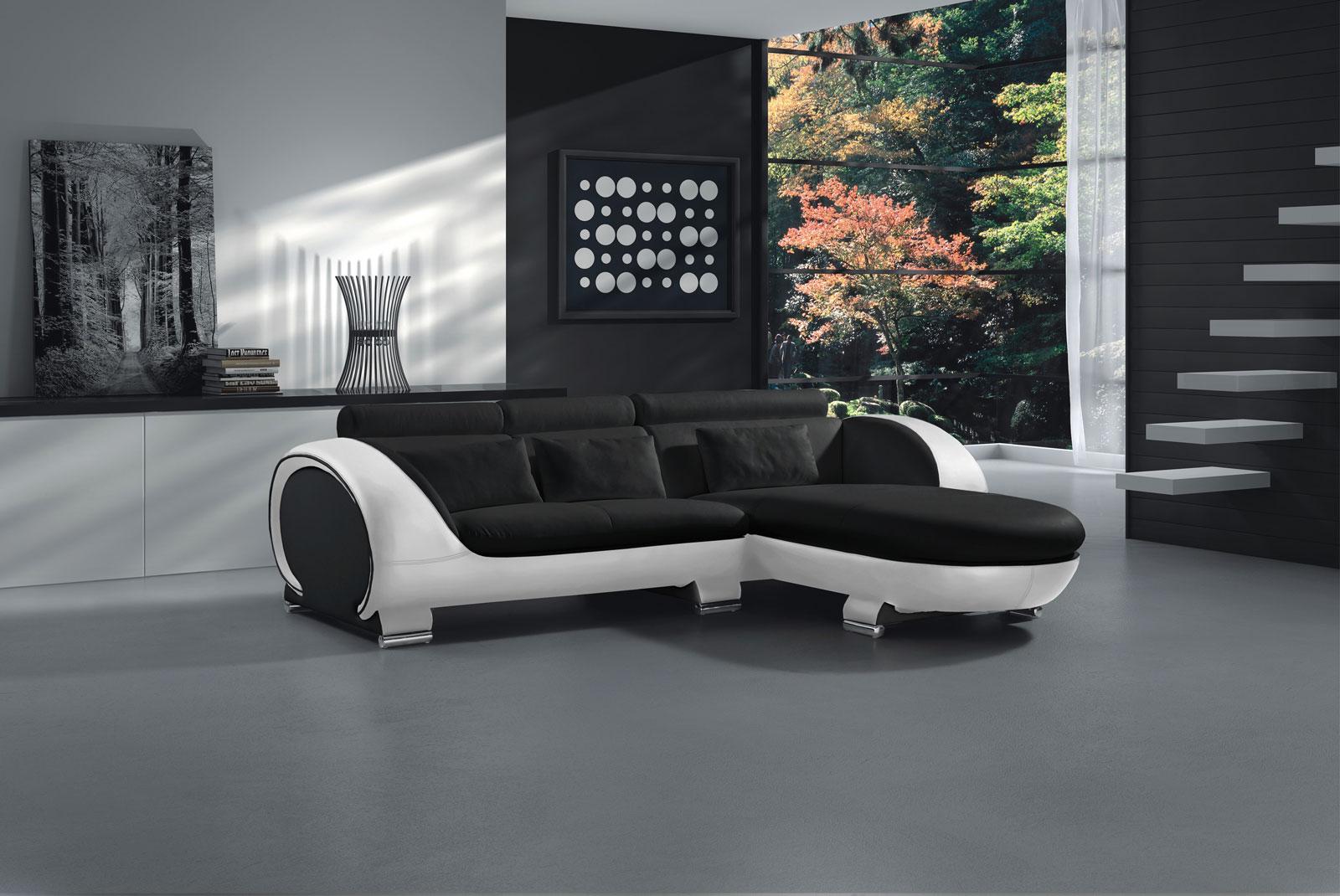 sam sofa schwarz wei vigo combi 1 couch 242 x 181 cm demn chst. Black Bedroom Furniture Sets. Home Design Ideas
