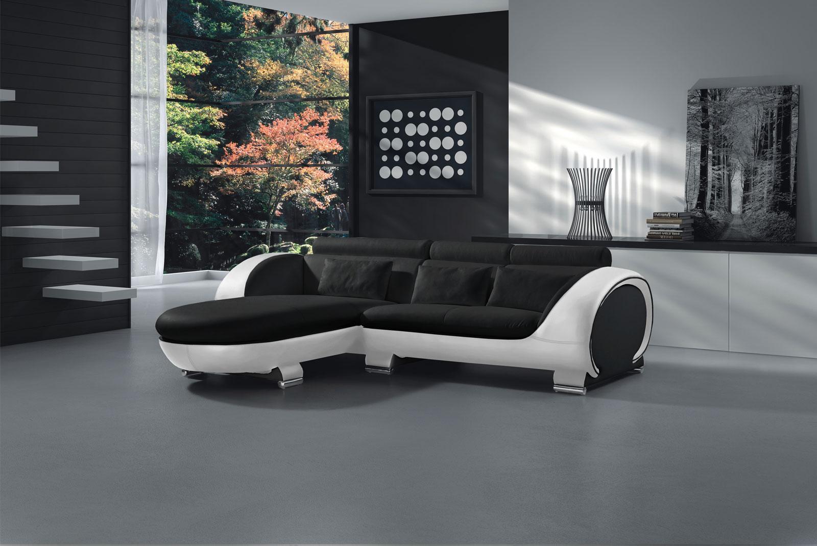 sam sofa schwarz wei vigo combi 1 couch 181 x 242 cm auf. Black Bedroom Furniture Sets. Home Design Ideas