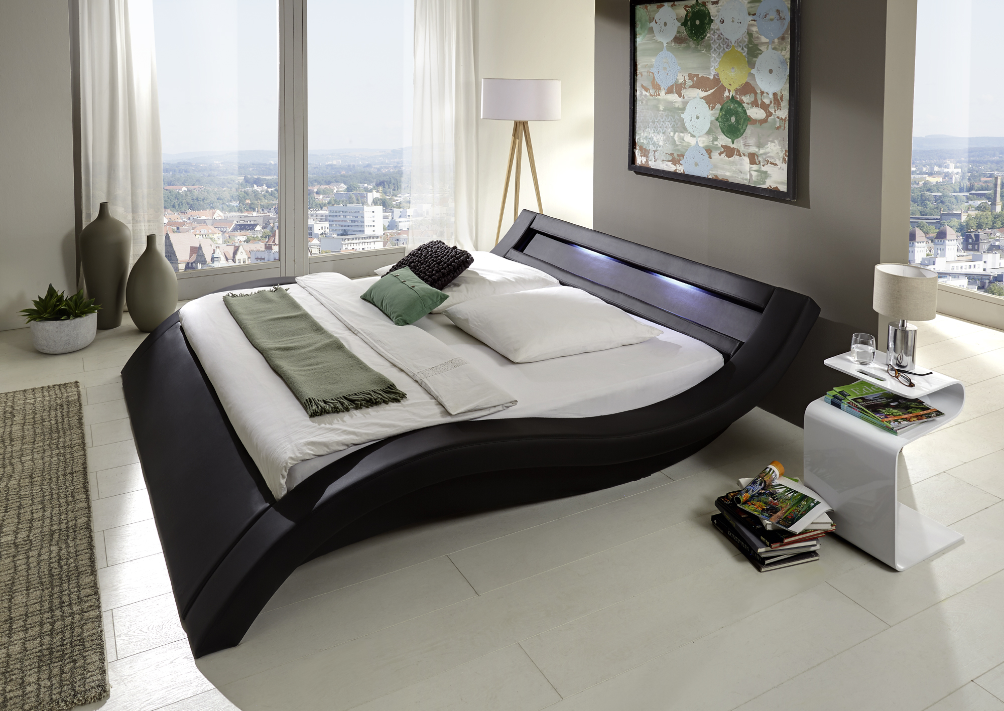 sam polsterbett 140 x 200 cm led schwarz look auf lager. Black Bedroom Furniture Sets. Home Design Ideas