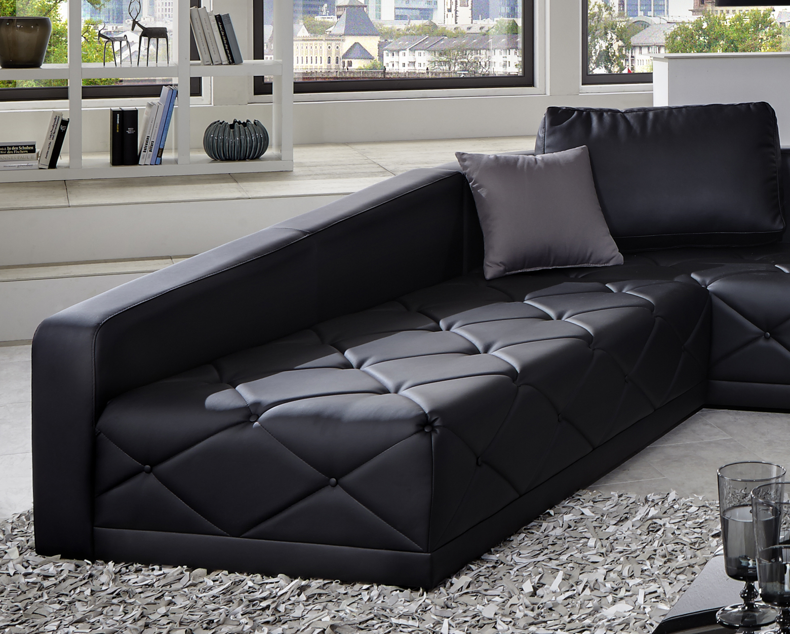 Sam design sofa schwarz wohnlandschaft nero 290 x 380 cm for Sofa 0 finanzierung