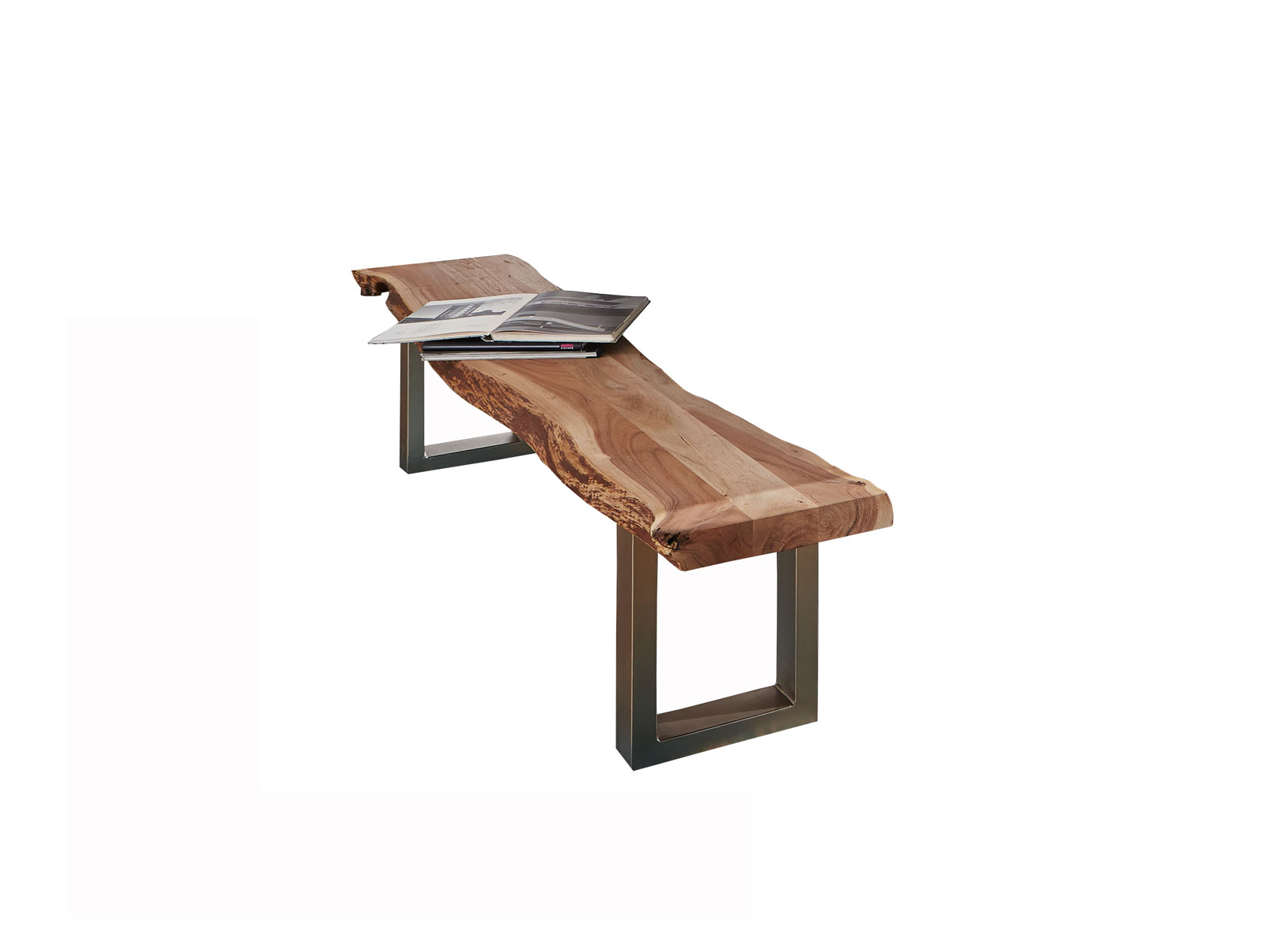 sam® sitzbank holz massiv baumkante 195 x 38 x 45 cm akazie madras