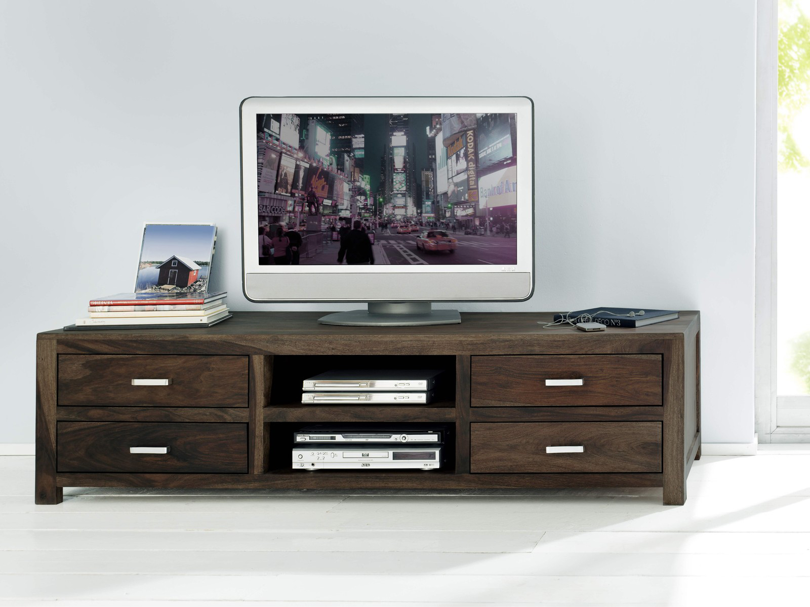 sale lowboard tv board 185x55 cm massivholz sheesham stone. Black Bedroom Furniture Sets. Home Design Ideas