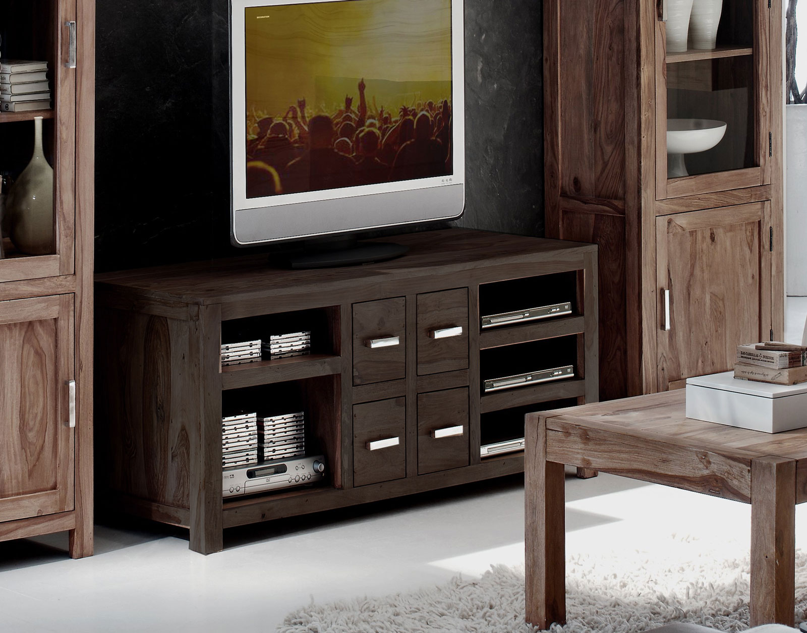 sam tv lowboard tv board 150 cm sheesham massiv stone wiam 1515. Black Bedroom Furniture Sets. Home Design Ideas