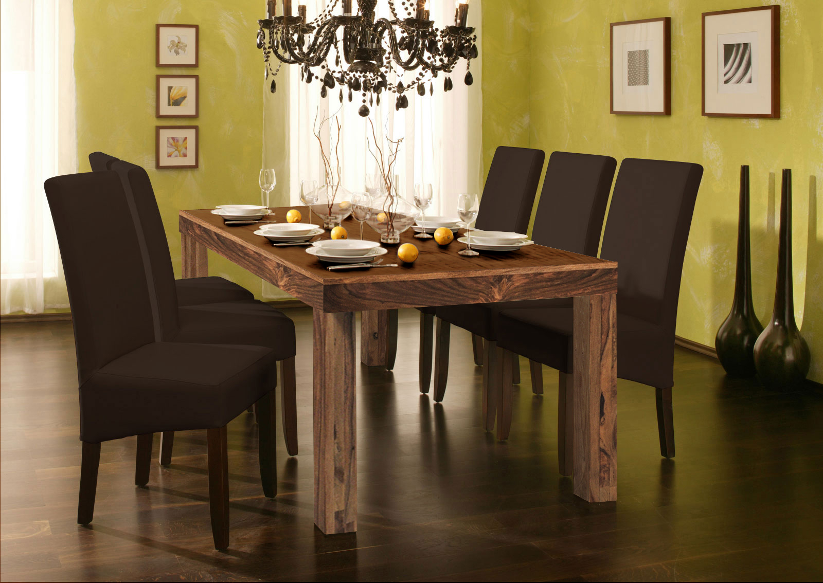 sam sheesham esszimmer tischgruppe 7tlg braun natur cubus 7029 auf lager clever und g nstig ab. Black Bedroom Furniture Sets. Home Design Ideas