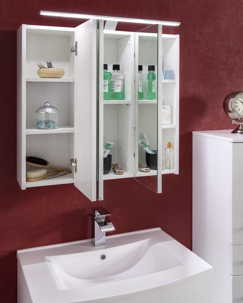 Sam 4tlg badezimmer set hochglanz wei 70 cm genf for Badezimmer 70 cm