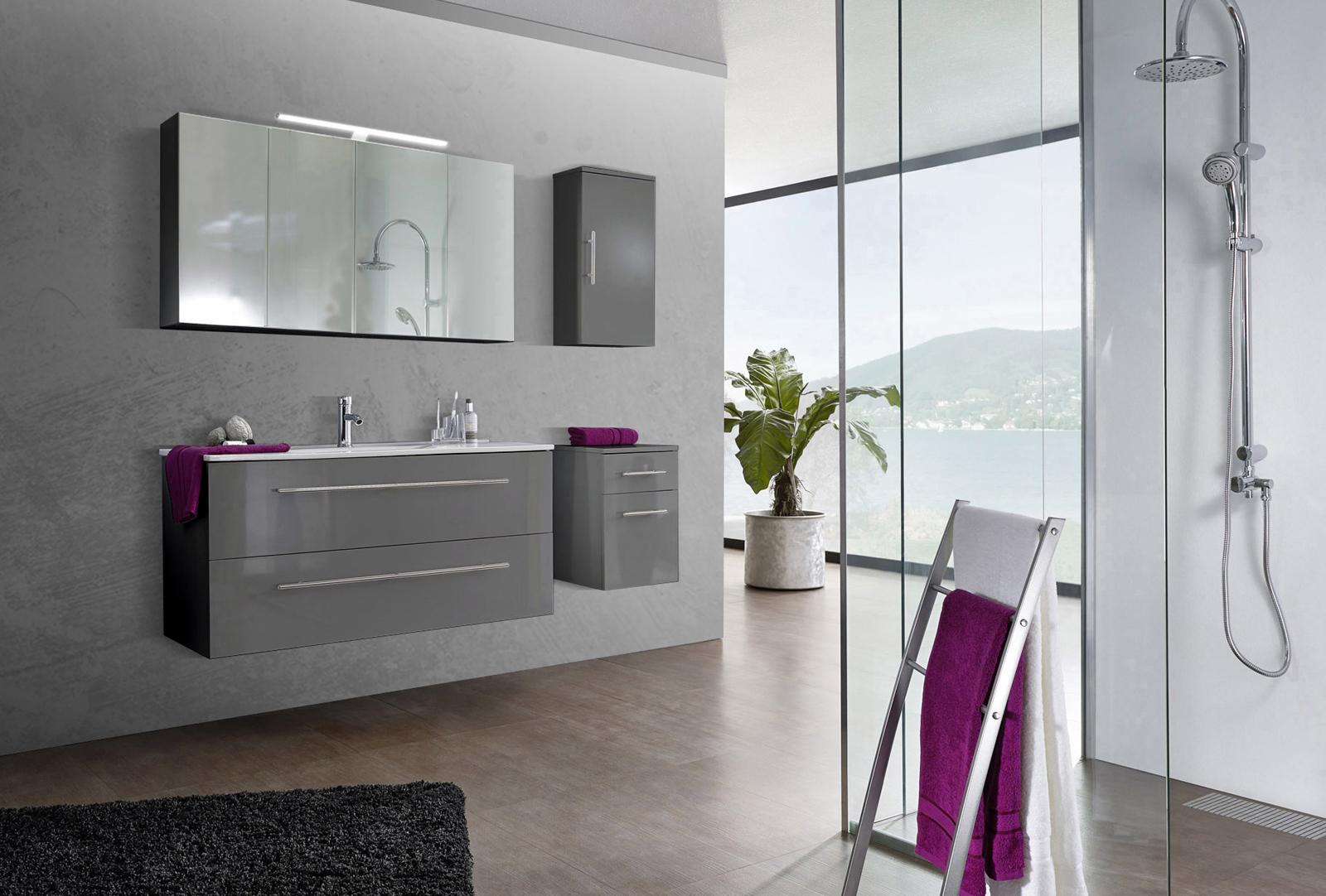 sam 4tlg badezimmer set spiegelschrank grau 120 cm verena. Black Bedroom Furniture Sets. Home Design Ideas