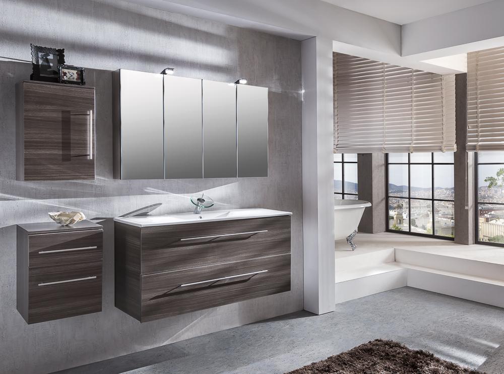sam 4tlg badezimmer set spiegelschrank tr ffeleiche 120 cm verena. Black Bedroom Furniture Sets. Home Design Ideas