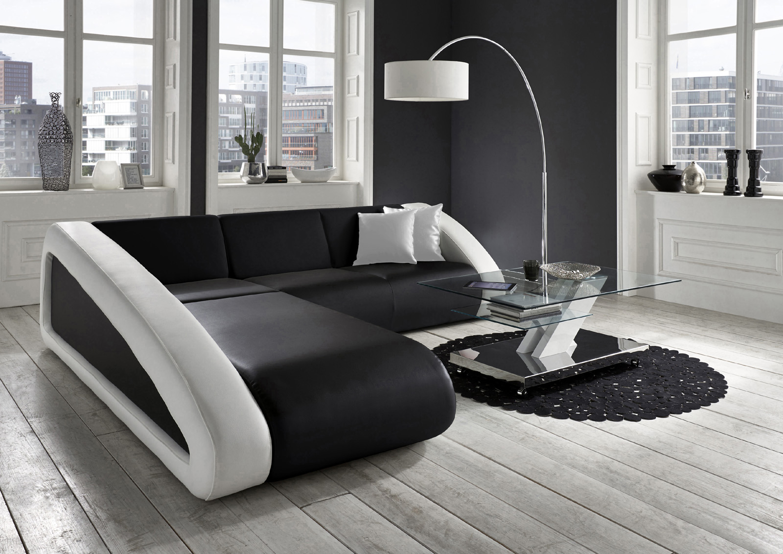 sam couch ecksofa polsterecke 250 x 270 cm schwarz wei. Black Bedroom Furniture Sets. Home Design Ideas