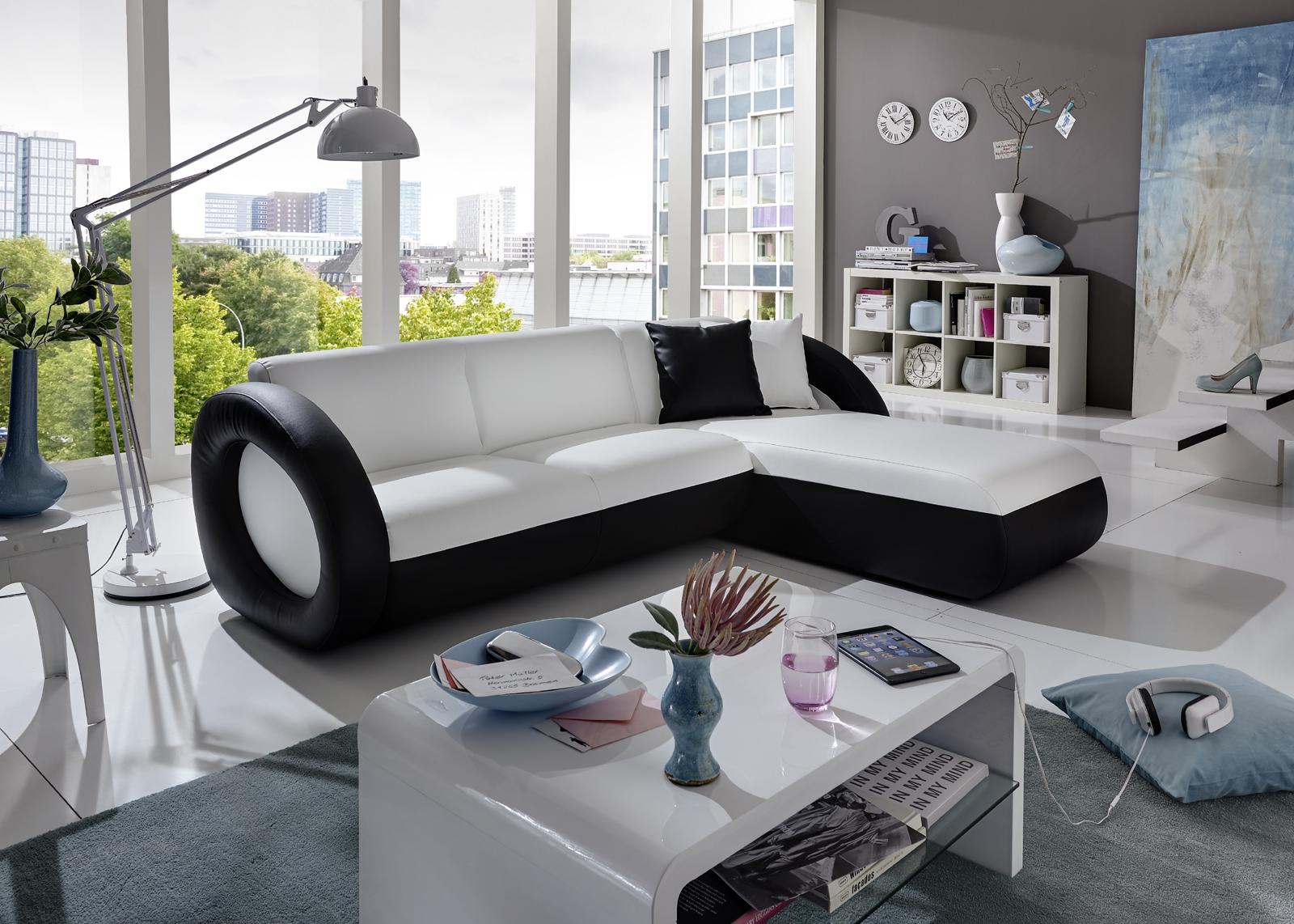 sam ecksofa wei schwarz couch onda l 236 x 180 cm. Black Bedroom Furniture Sets. Home Design Ideas