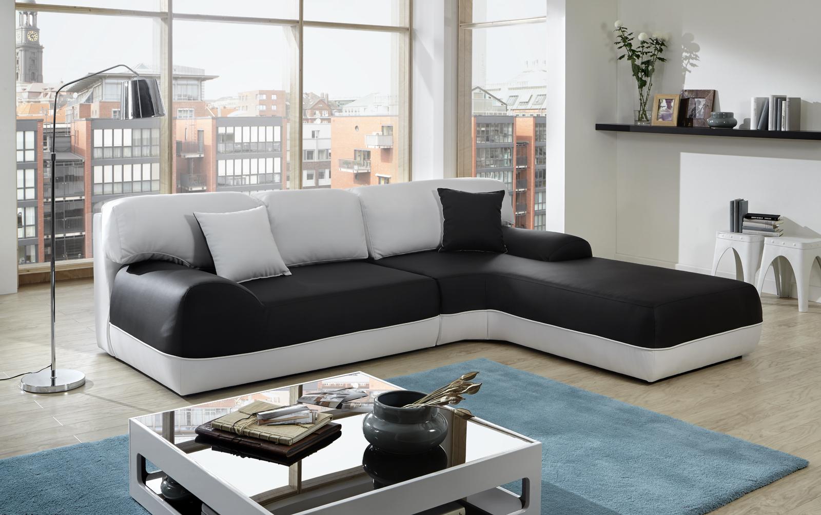 sam ecksofa schwarz wei couch impulso 260 x 220 cm bestellware - Schwarz Wei Sofa