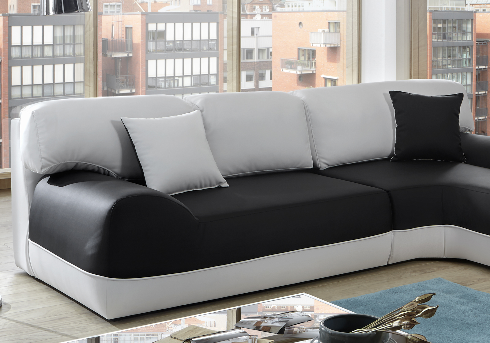 sam ecksofa schwarz wei couch impulso 260 x 220 cm. Black Bedroom Furniture Sets. Home Design Ideas