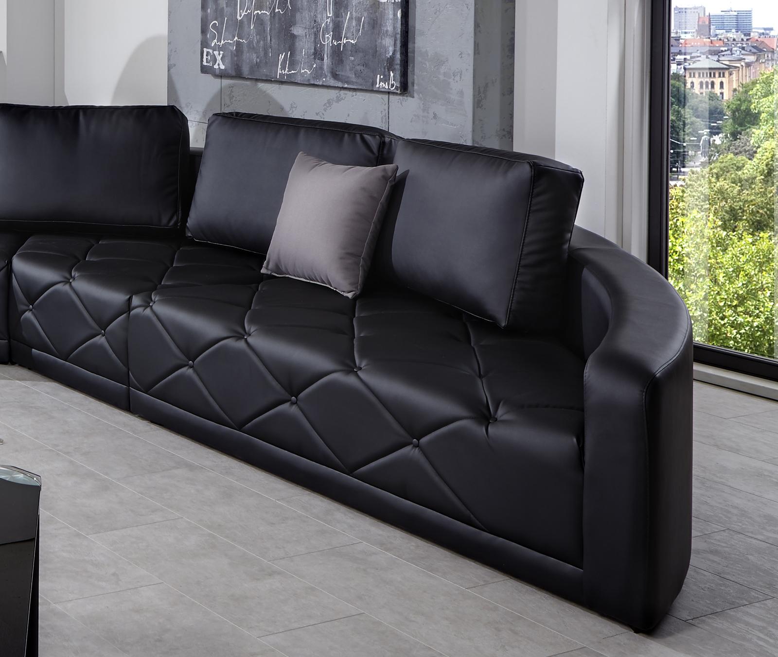 Sam sofa wohnlandschaft schwarz nero 290 x 380 cm for Wohnlandschaft 290 cm breit