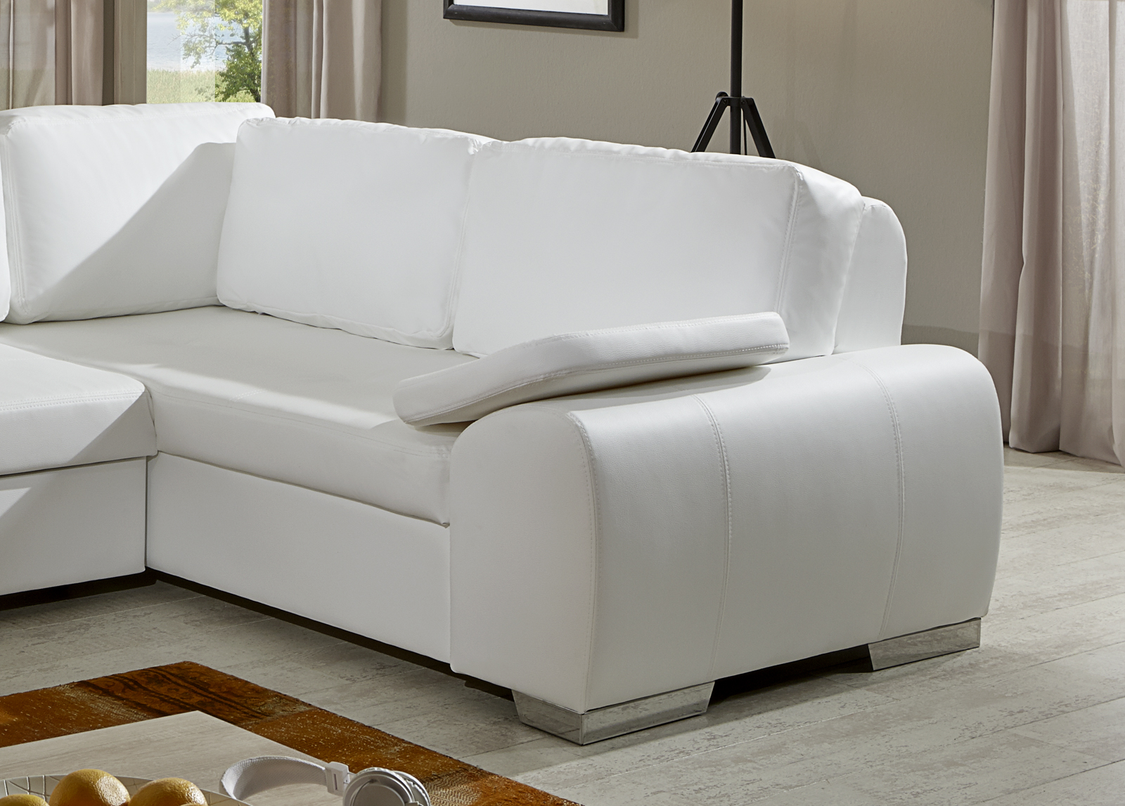 sam ecksofa wei ernesto schlafsofa 250 x 200 cm. Black Bedroom Furniture Sets. Home Design Ideas