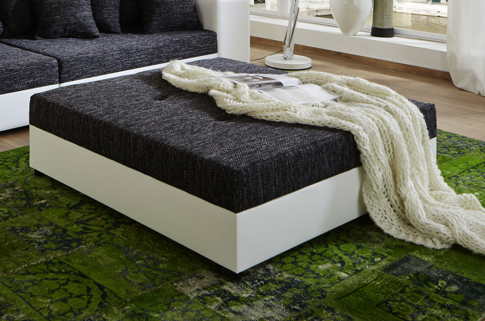 SAM® Wohnzimmer Design Hocker 120 cm schwarz weiß Giga