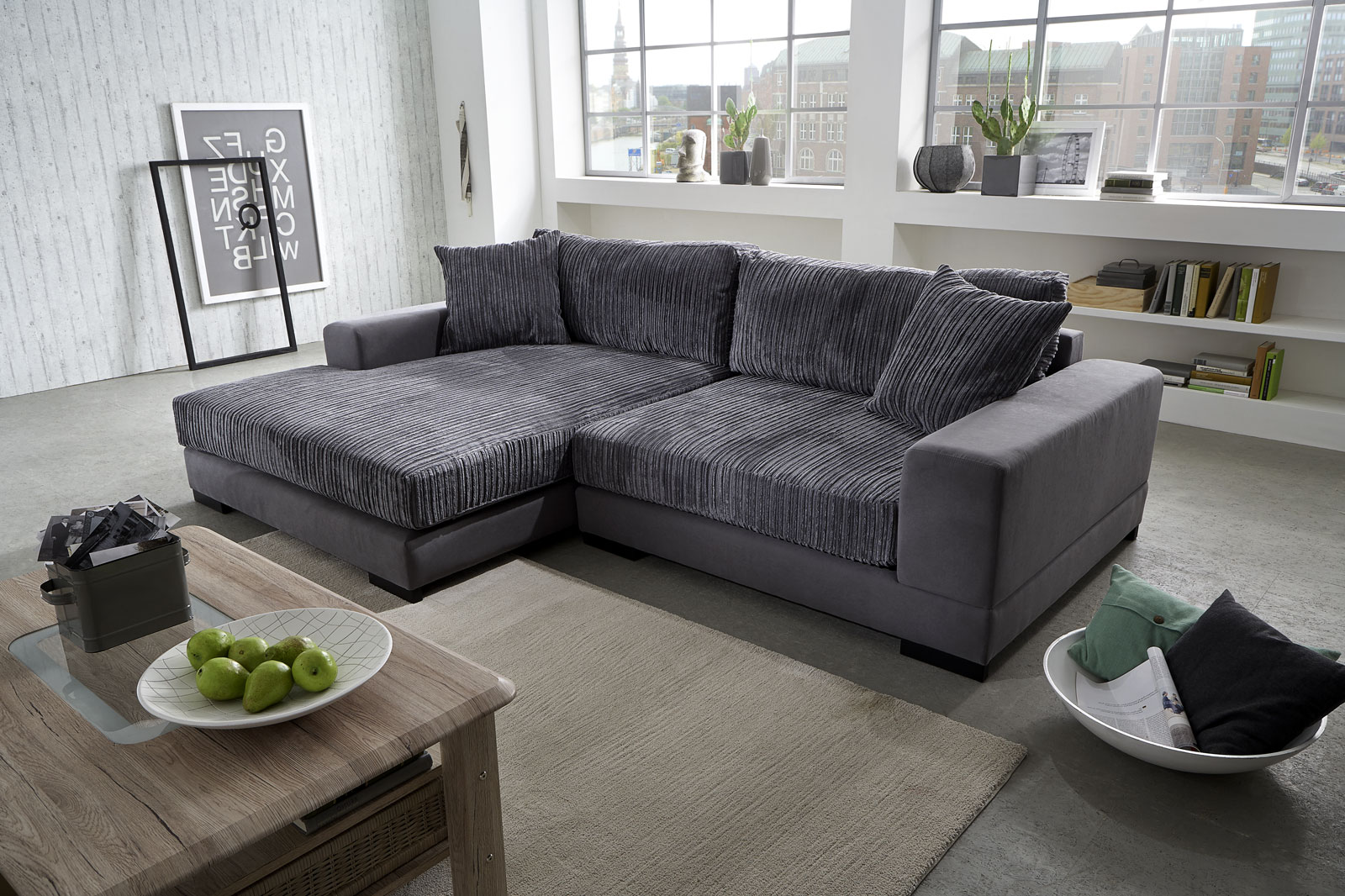 Sam ecksofa grau jan polsterecke 160 x 275 cm for Ecksofa 220 x 160