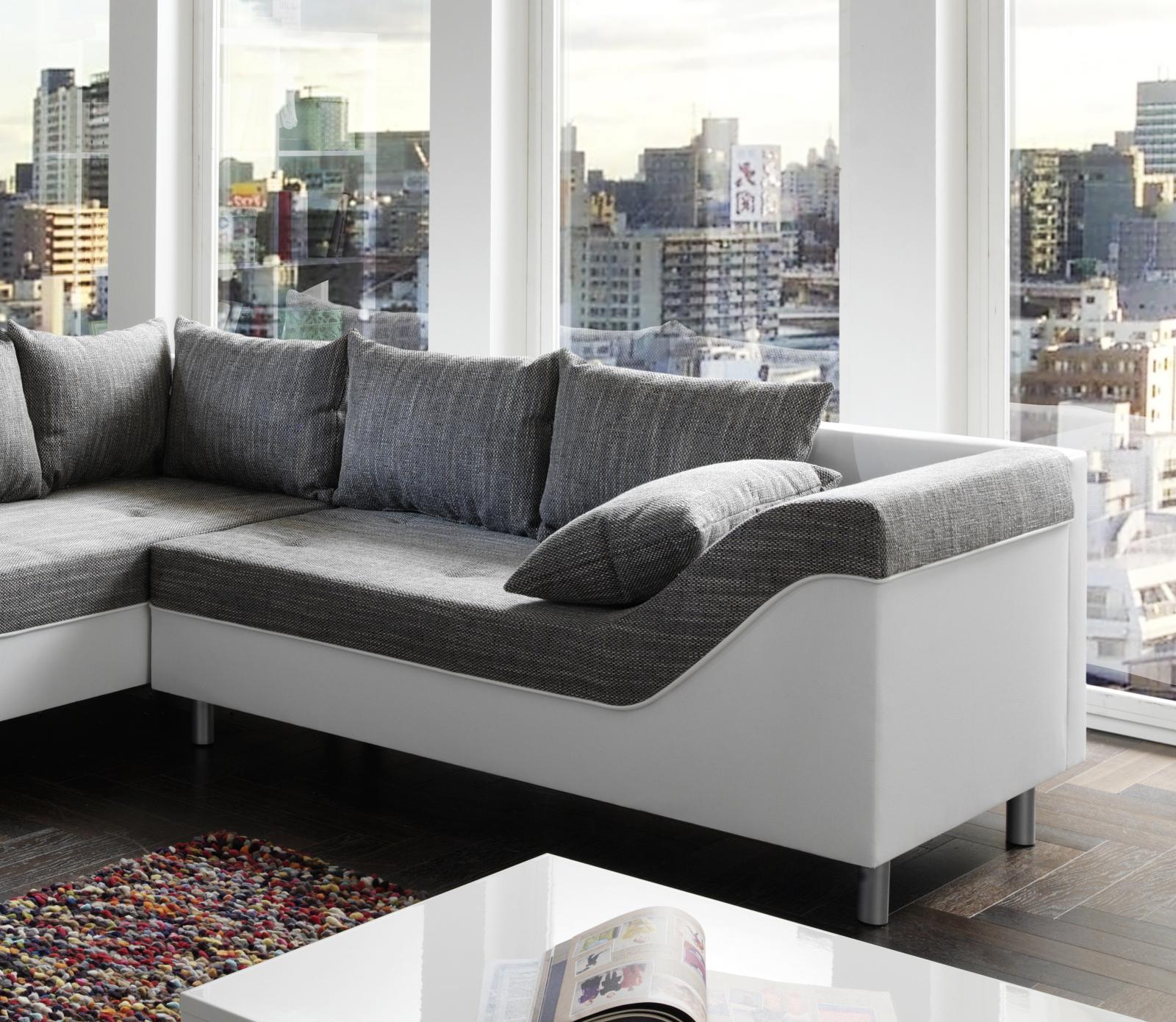 sam sofa grau wei wohnlandschaft phil 183 x 315 x 243 cm. Black Bedroom Furniture Sets. Home Design Ideas