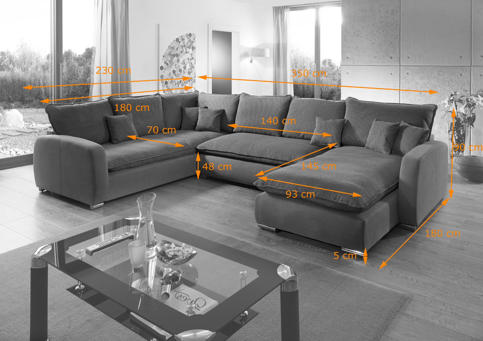 Graue Wohnlandschaft sam sofa grau wohnlandschaft scala 230 cm x 350 x 180 cm
