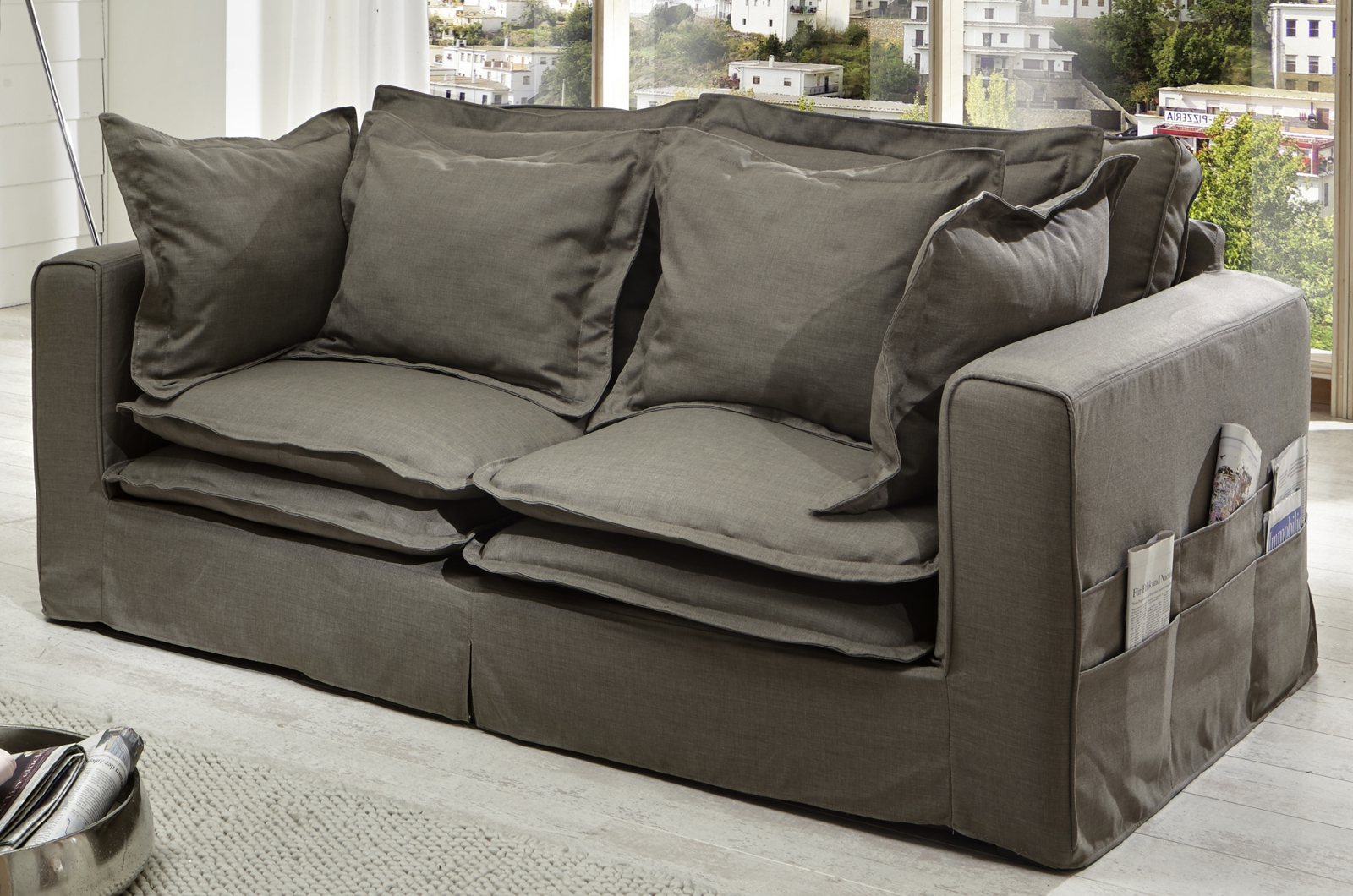 sam design hussensofa braun 2 sitzer nora g nstig. Black Bedroom Furniture Sets. Home Design Ideas