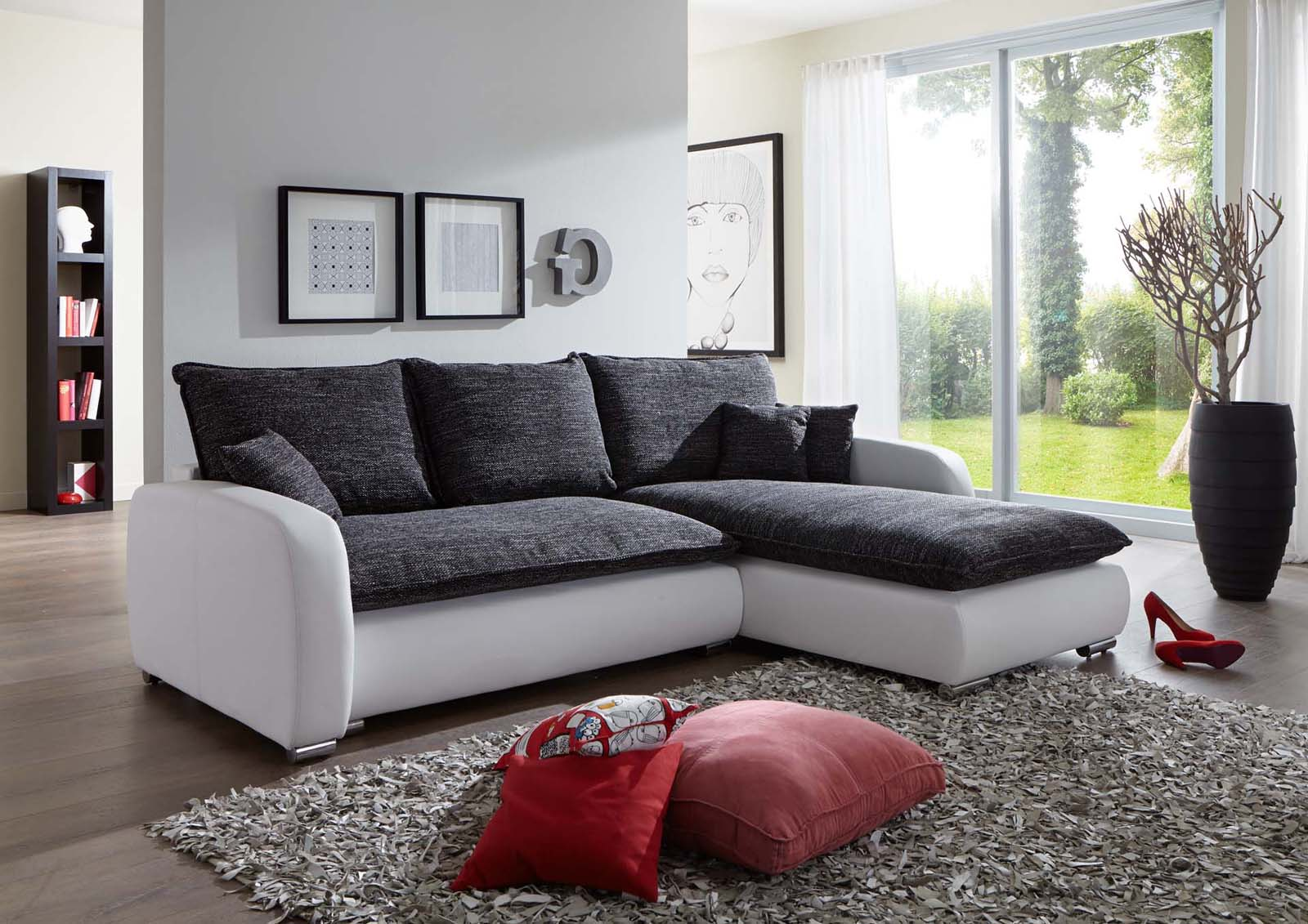 sam ecksofa grau wei scala 24 sofa 260 x 180 cm. Black Bedroom Furniture Sets. Home Design Ideas