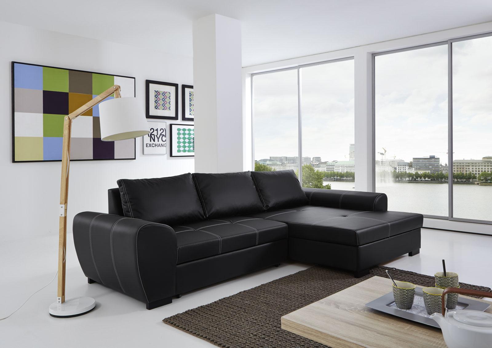 sam ecksofa schwarz schlafsofa marc 332 x 165 cm. Black Bedroom Furniture Sets. Home Design Ideas