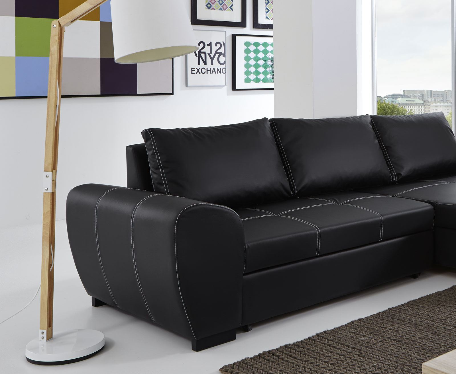 sam ecksofa schwarz schlafsofa marc 332 x 165 cm. Black Bedroom Furniture Sets. Home Design Ideas