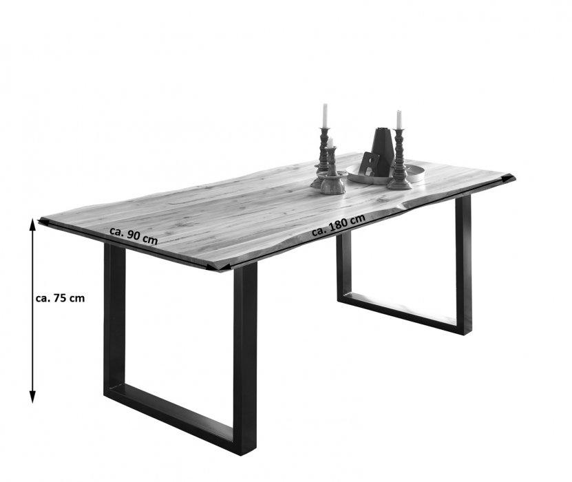 sam baumkantentisch esszimmer tisch 180 cm massiv akazie milo. Black Bedroom Furniture Sets. Home Design Ideas
