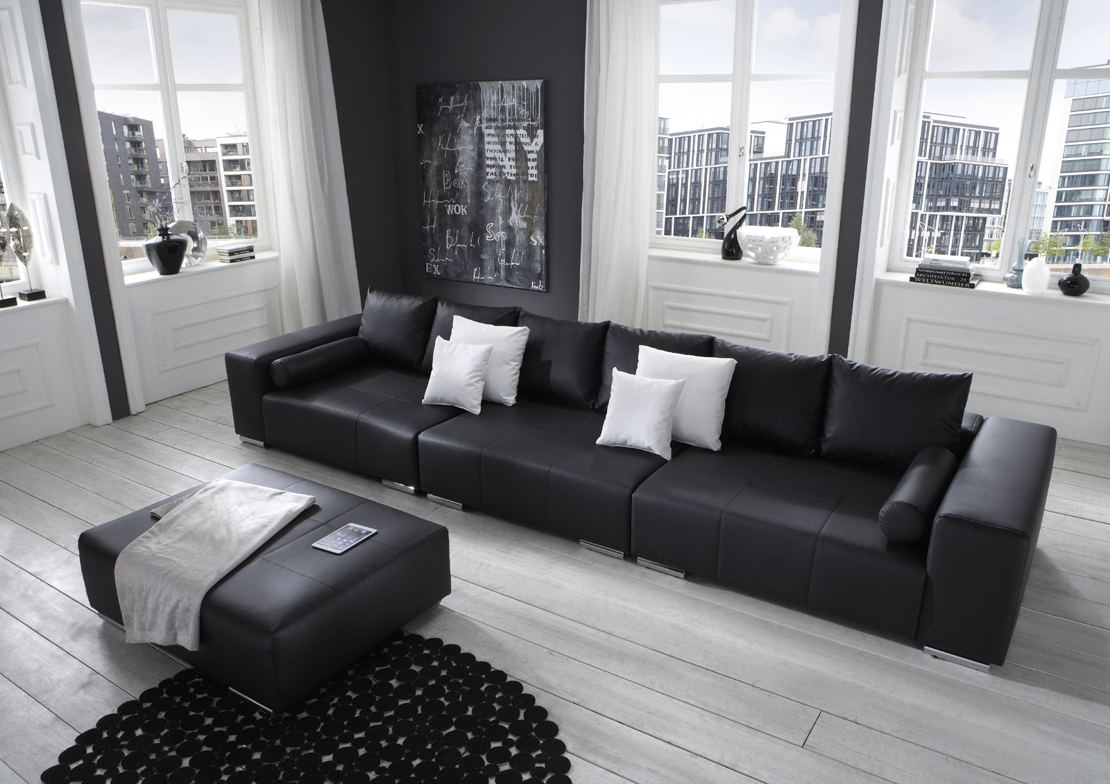 sam big sofa schwarz 394 cm hocker optional jupiter. Black Bedroom Furniture Sets. Home Design Ideas