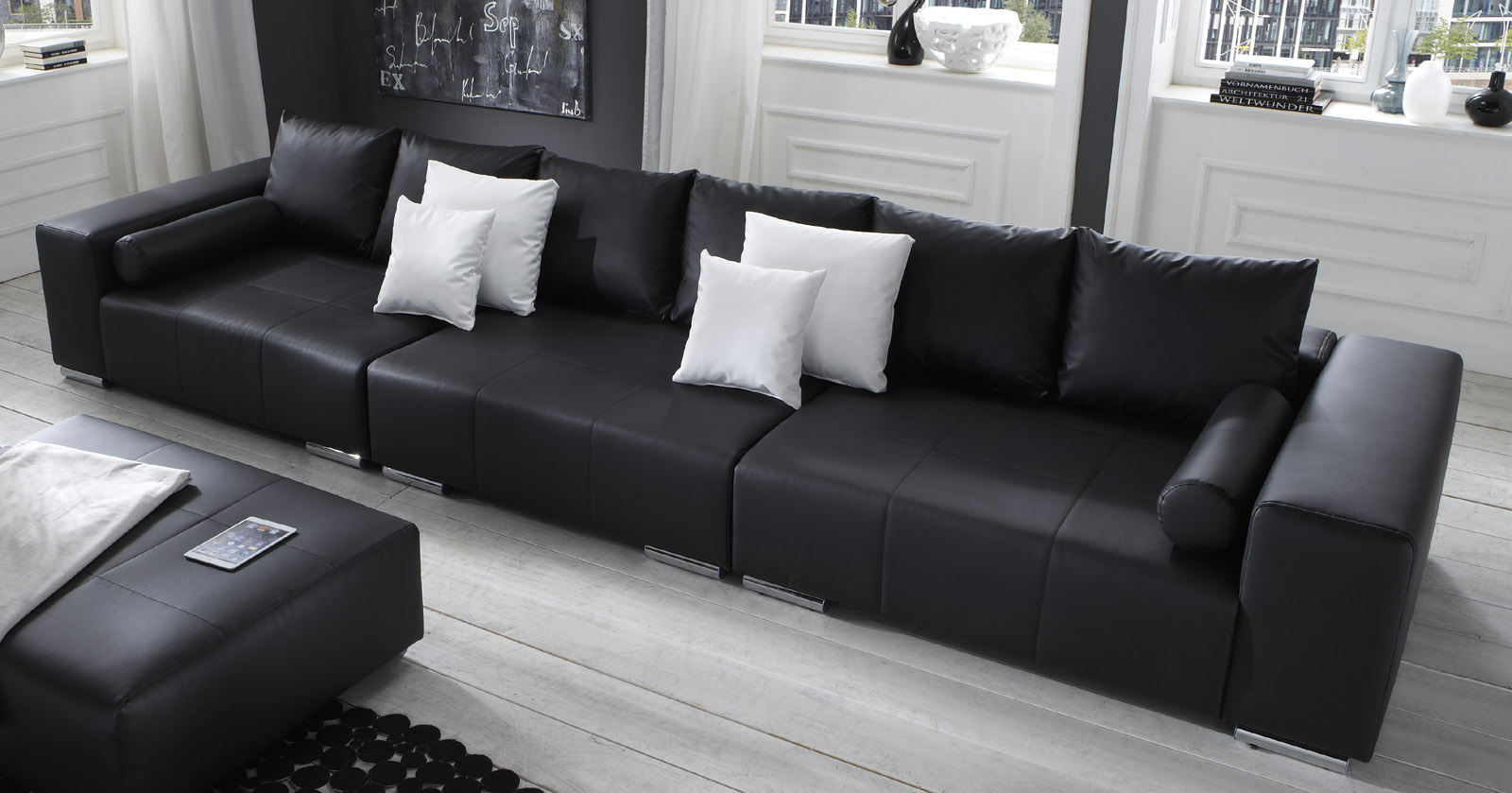 Genial Big Sofa Mit Hocker Referenz Von Amazing Sam Schwarz Cm Optional Jupiter With