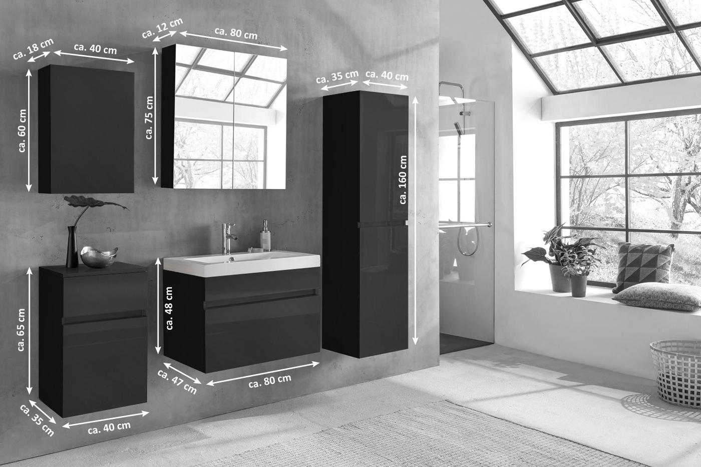 Moderne badezimmermöbel schwarz  SAM® Badezimmermöbel PARMA 5tlg schwarz Hochglanz 80 cm Demnächst !