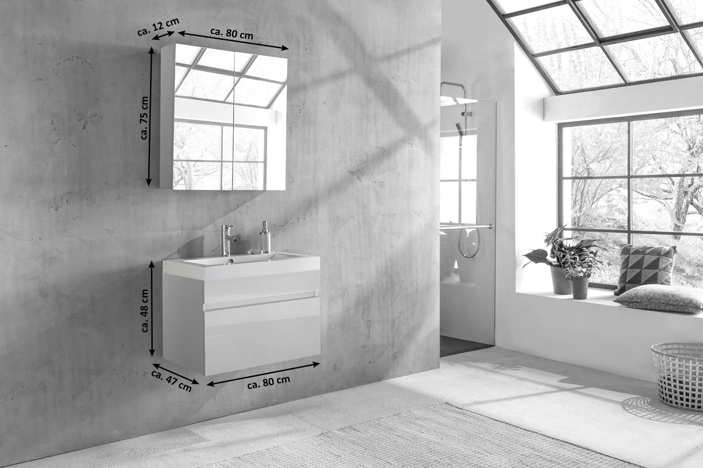 Badezimmermöbel weiß hochglanz  SAM® Badezimmermöbel PARMA 2tlg weiß Hochglanz 80 cm Demnächst !