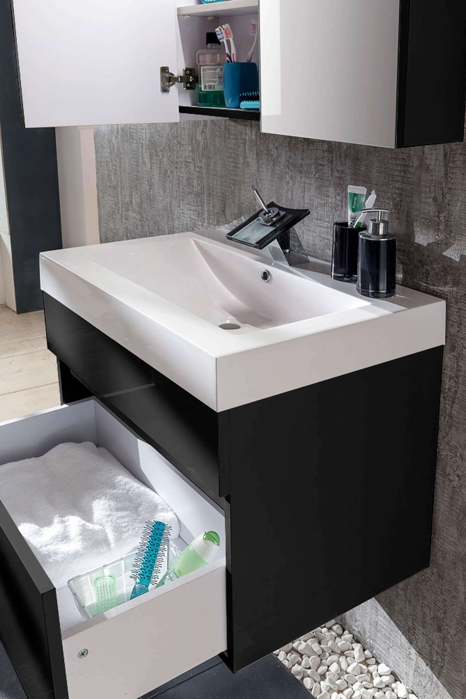 sam badm bel set 3tlg waschtisch 80 cm hochglanz schwarz parma. Black Bedroom Furniture Sets. Home Design Ideas