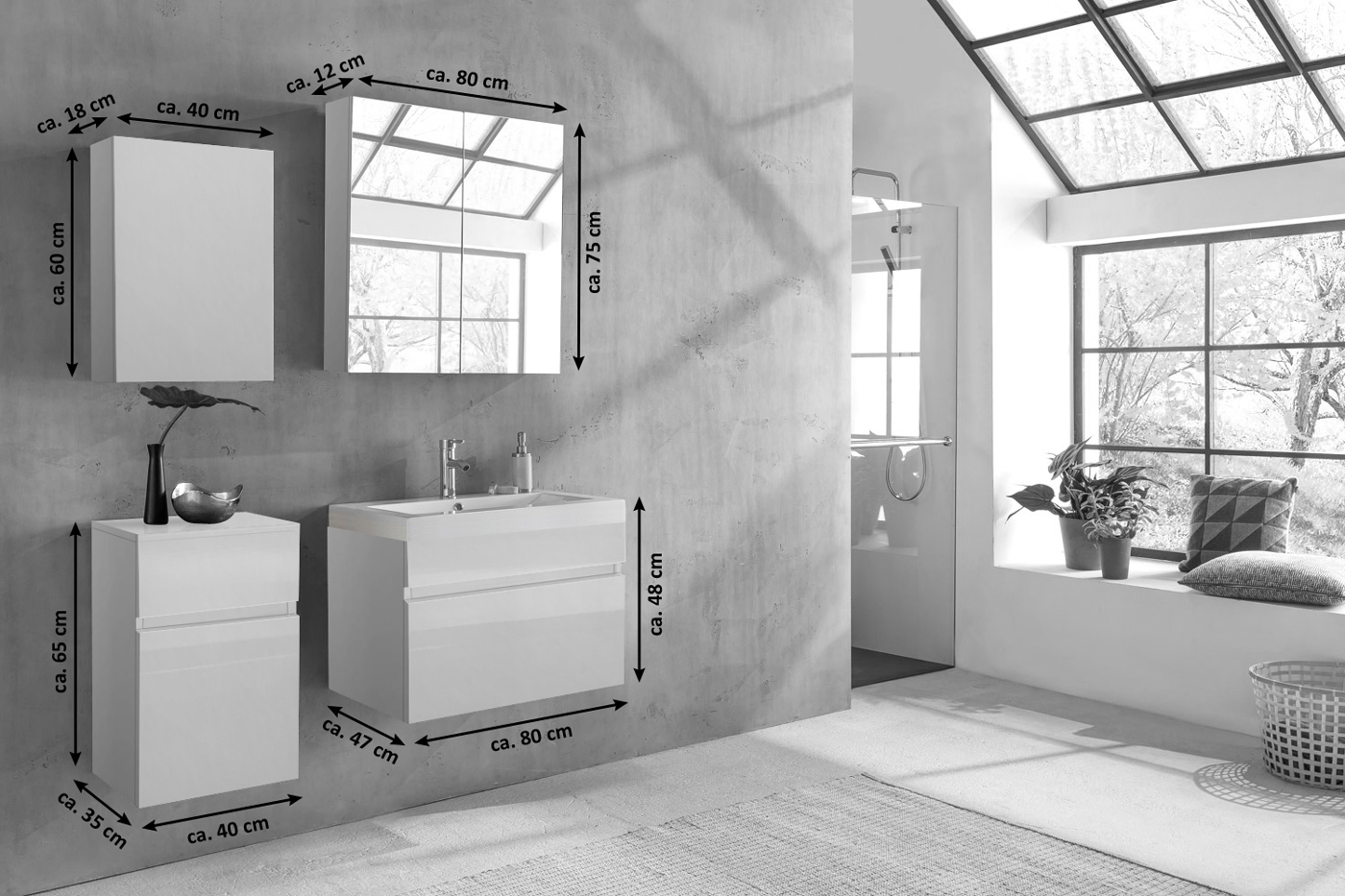 sam badm bel set 4tlg waschtisch 80 cm hochglanz wei parma demn chst. Black Bedroom Furniture Sets. Home Design Ideas