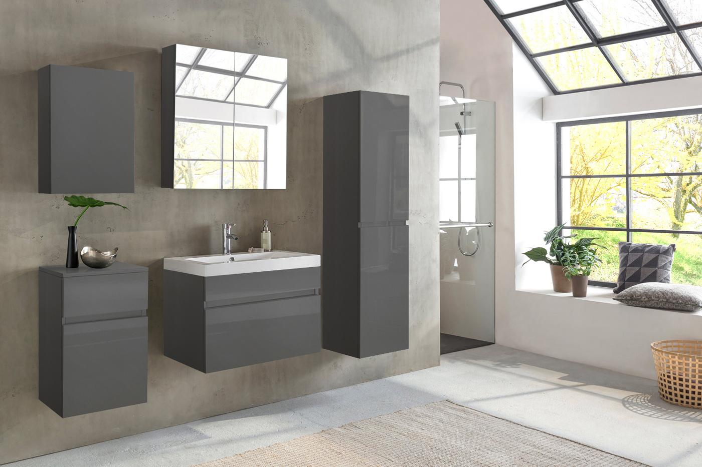 Badmöbel grau  SAM® Badmöbel PARMA 5tlg grau Hochglanz 80 cm