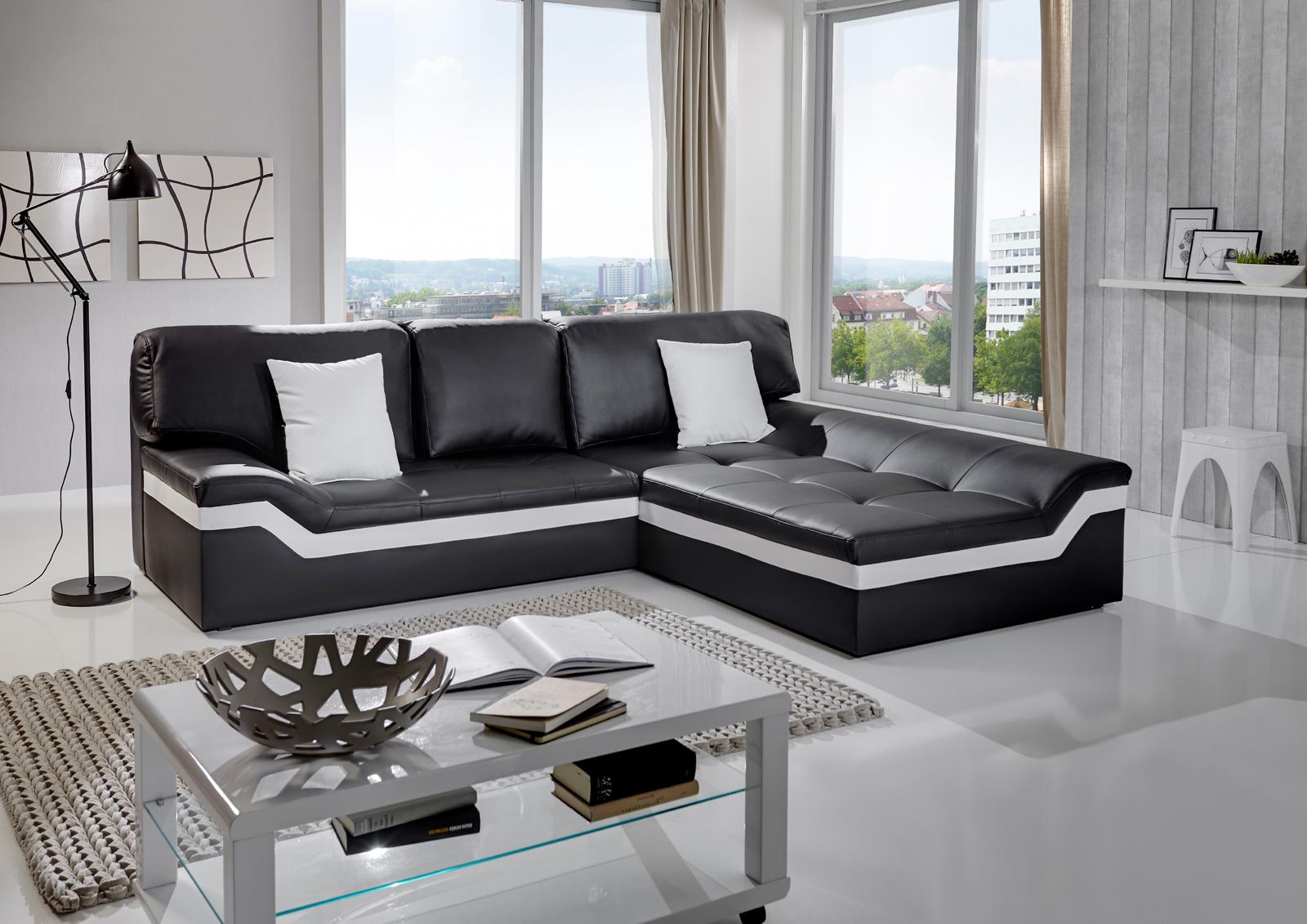 Blickfang Ecksofa Wohnlandschaft Referenz Von Sam® 270 X 220 Cm Schwarz/weiß Sofa