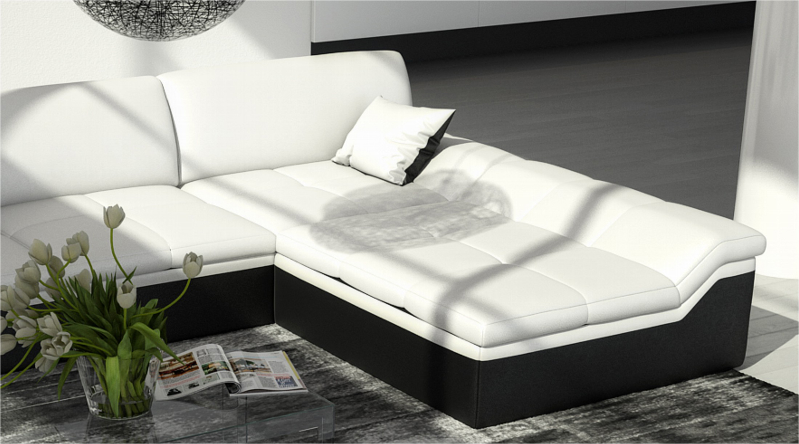 sam ecksofa wei schwarz mistico polsterecke 270 x 220 cm. Black Bedroom Furniture Sets. Home Design Ideas
