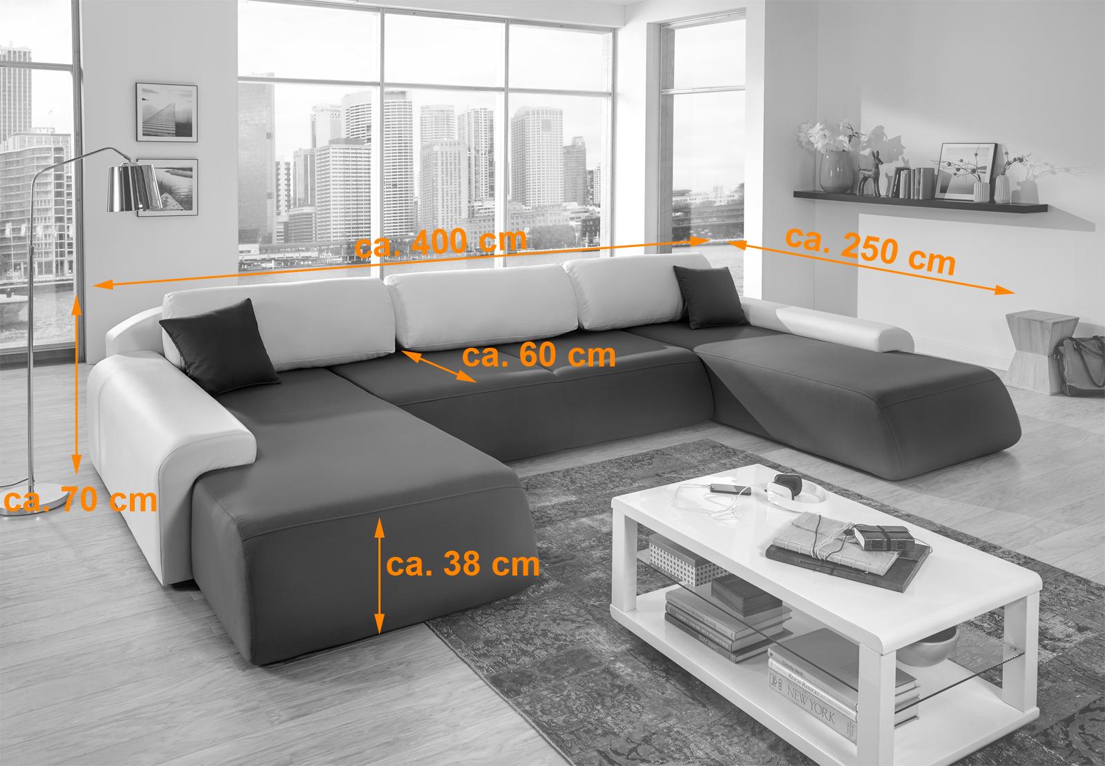 Sam wohnlandschaft grau wei sol 250 x 400 x 250 cm for Sam wohnlandschaft