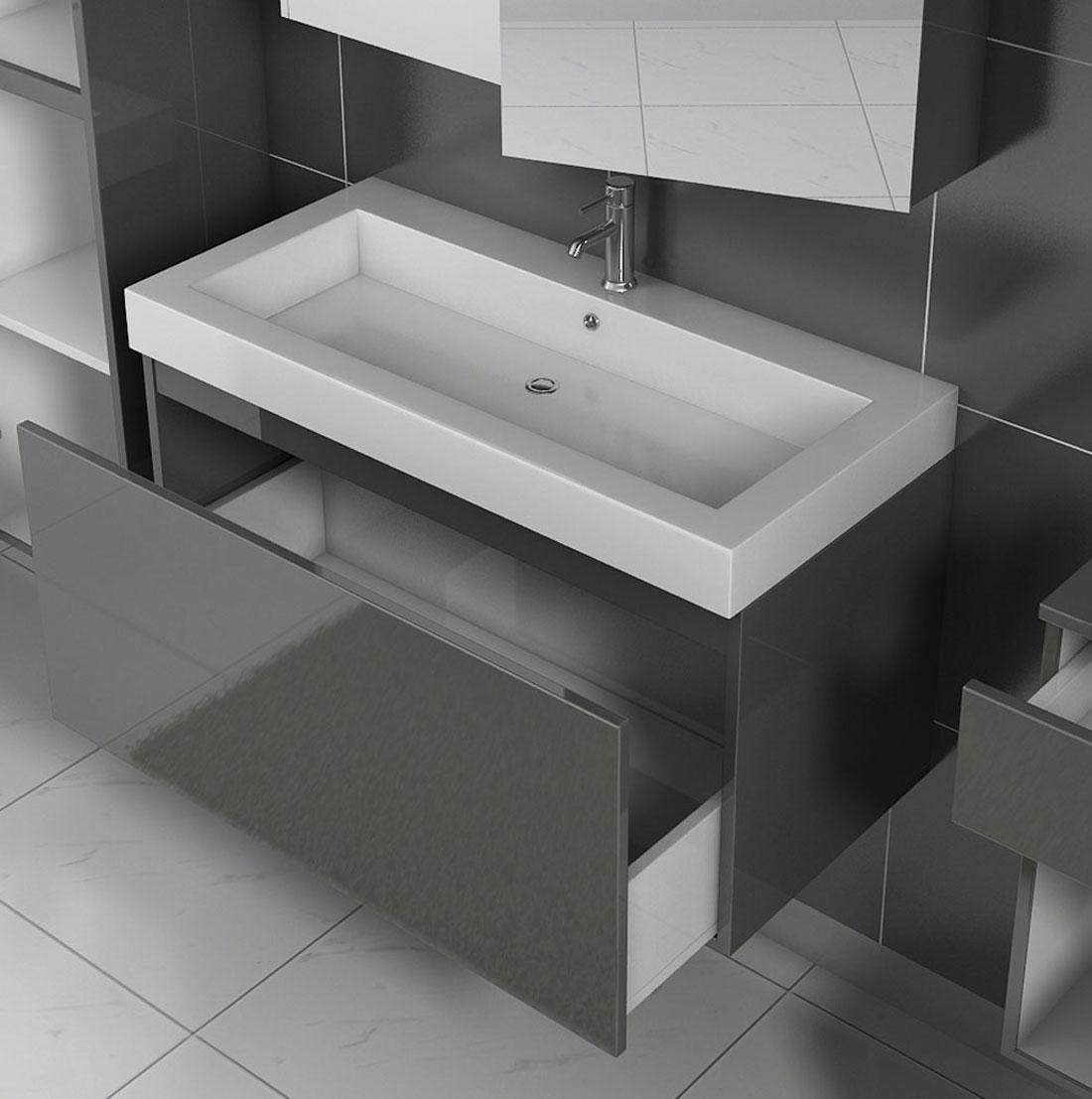 SAM® Badmöbel 4tlg Set Softclose grau Hochglanz Parma 100 cm