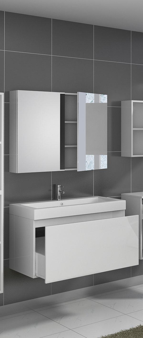 SAM® Badezimmermöbel PARMA 2tlg weiß Hochglanz 100 cm Demnächst !