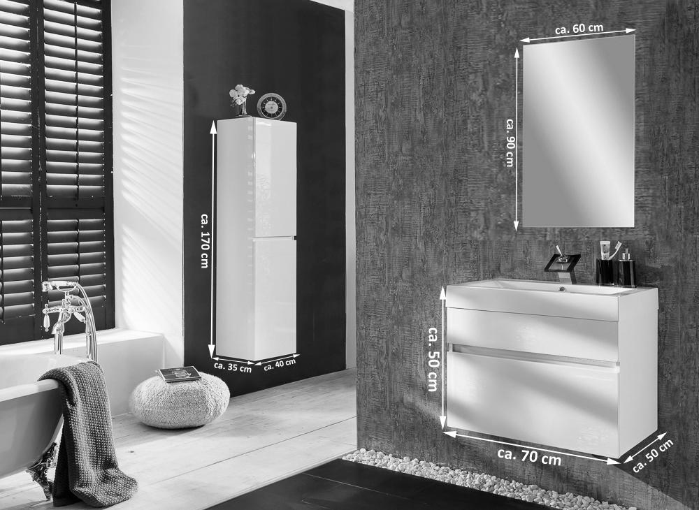 sam badm bel parma spiegel 3tlg wei hochglanz 70 cm. Black Bedroom Furniture Sets. Home Design Ideas