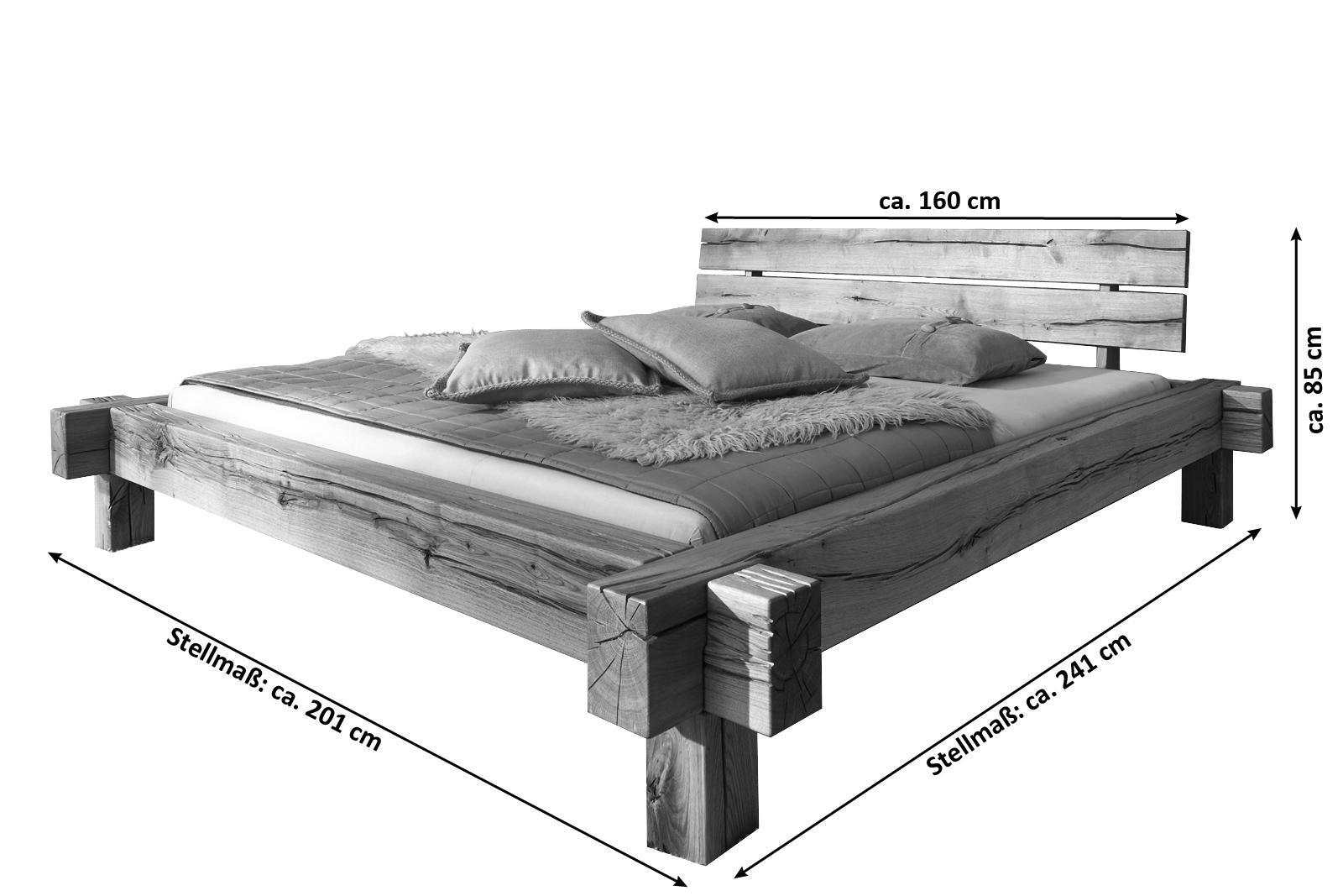 Holzbett massiv 180x200  SAM® Balkenbett JONAS Massiv Holzbett 160 x 200 cm