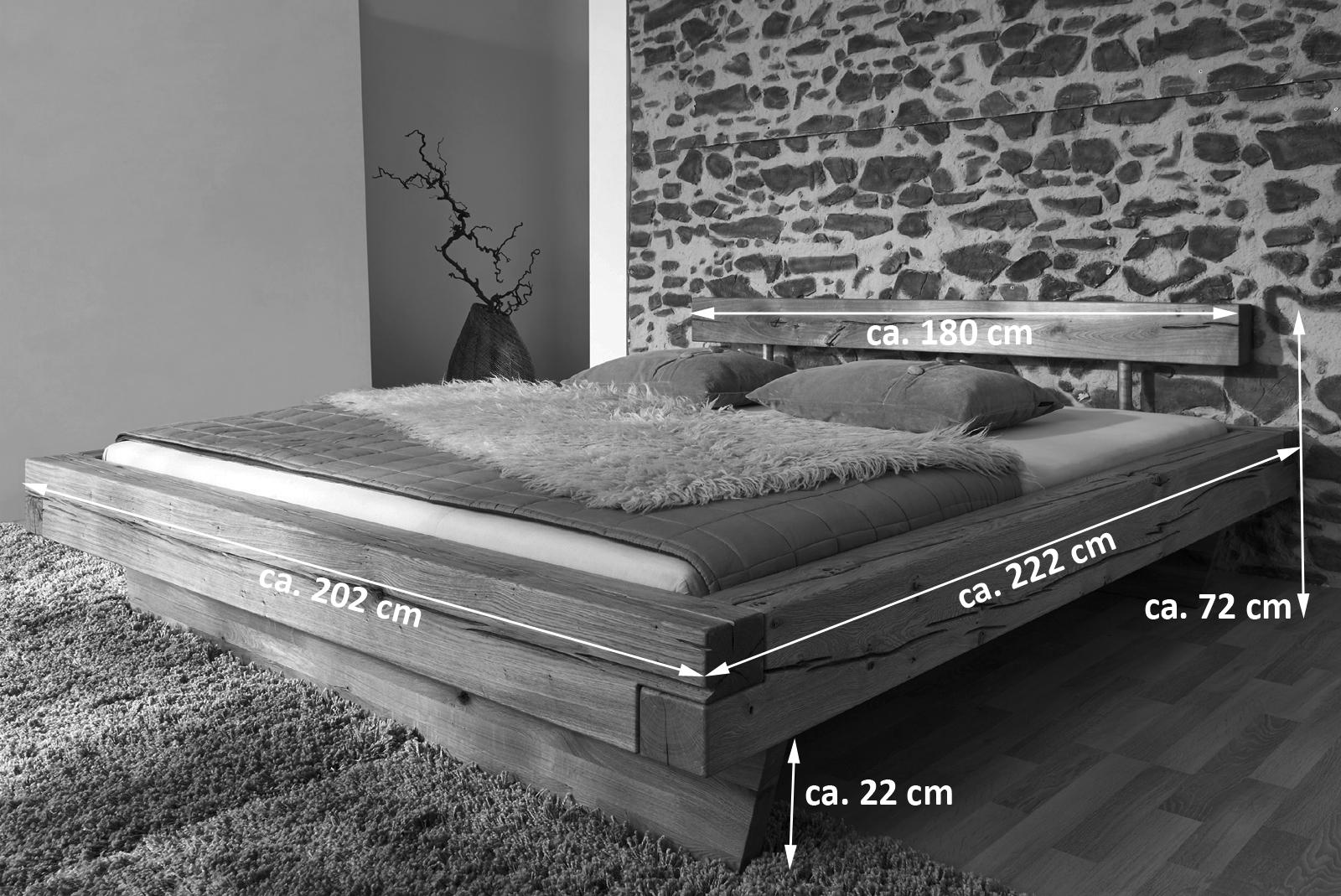 Holzbett massiv 180x200  SAM® Balkenbett JAKOB Wildeiche Holzbett 180 x 200 cm