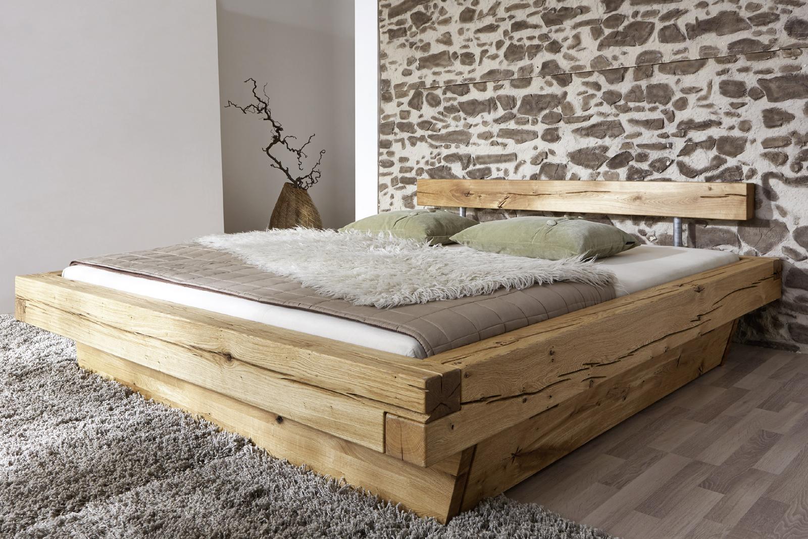 Holzbett massiv 180x200  SAM® Balkenbett JAKOB mit Schubkästen Massiv 180x200 cm
