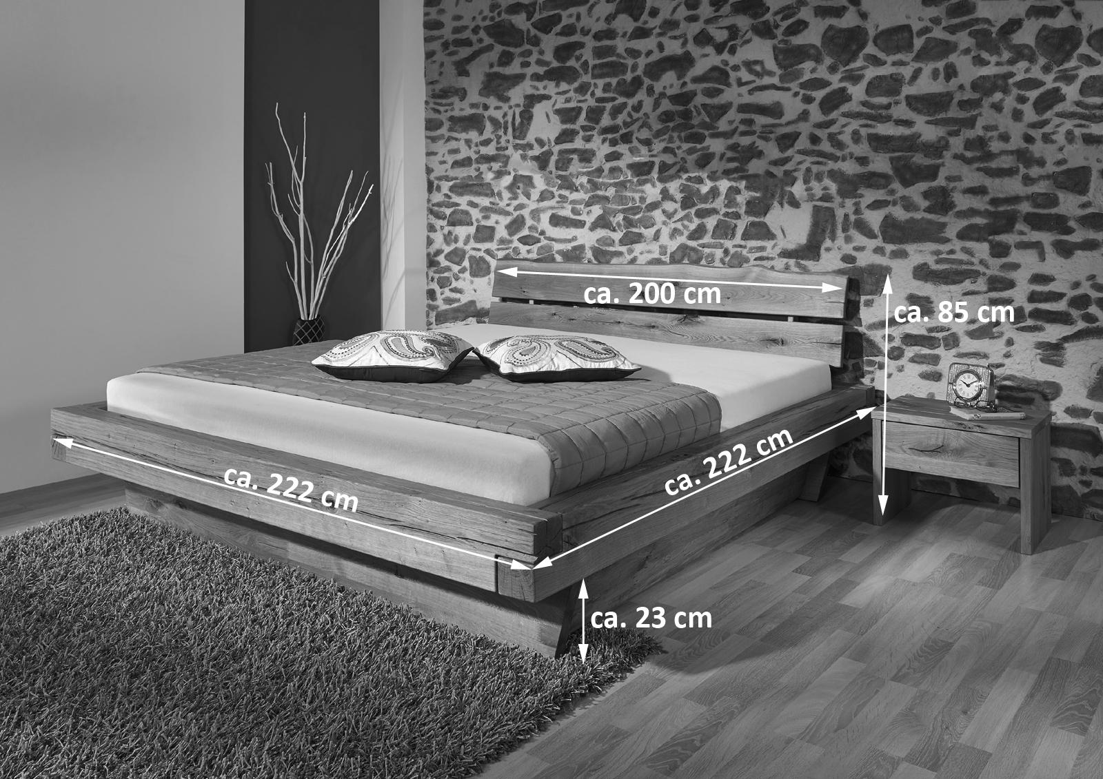 Sam balkenbett josef mit schubk sten holzbett 200x200 cm for Holzbett 200x200