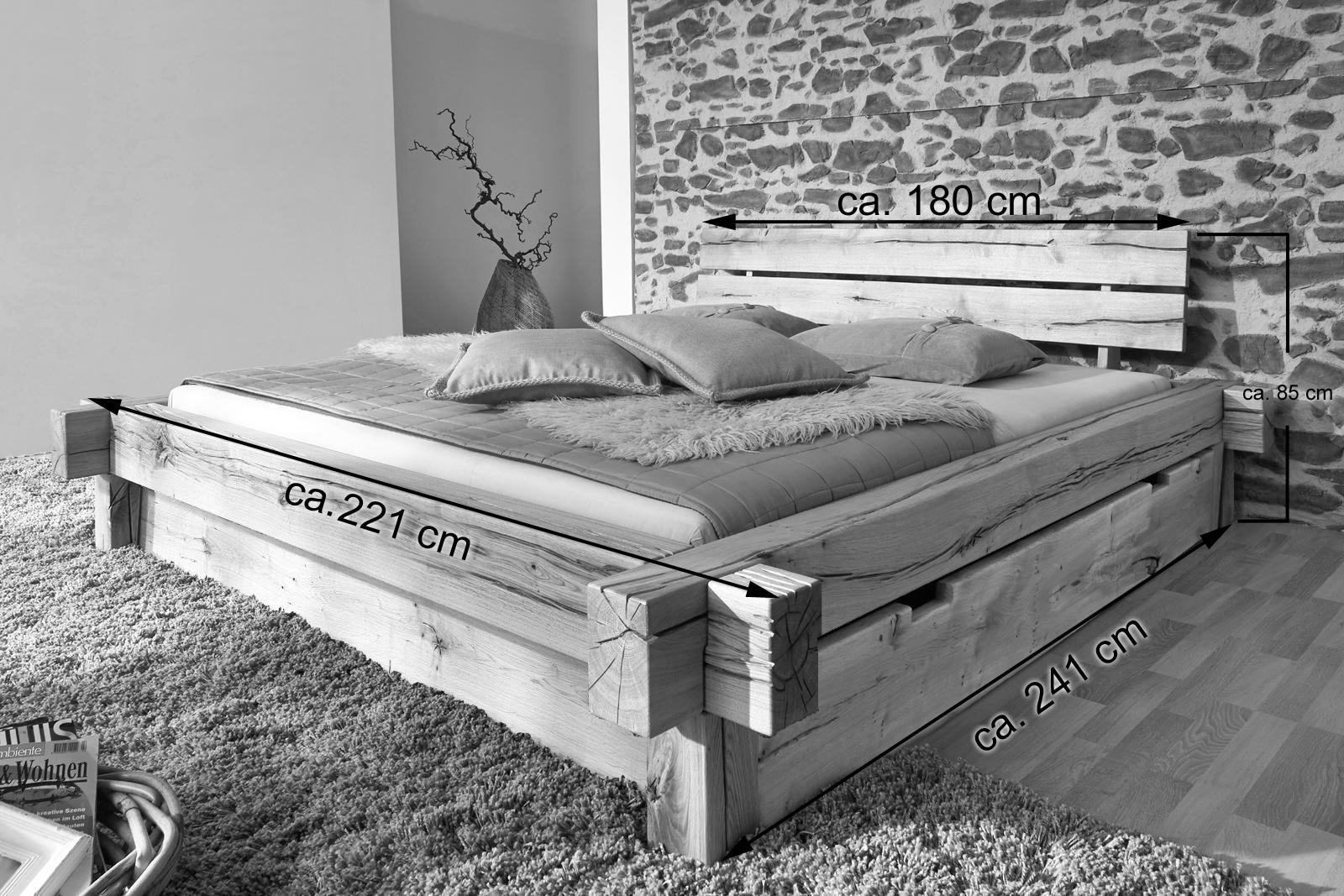 sam balkenbett 180x200 massivholzbett mit bettkasten wildeiche jonas demn chst. Black Bedroom Furniture Sets. Home Design Ideas