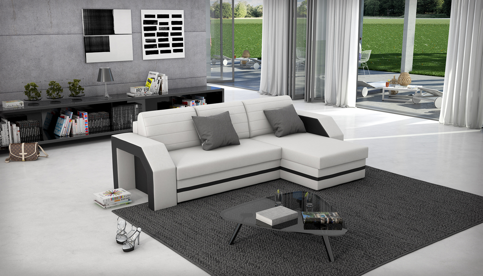 sam ecksofa wei schwarz schlafsofa acapulco 266 x 145 cm. Black Bedroom Furniture Sets. Home Design Ideas