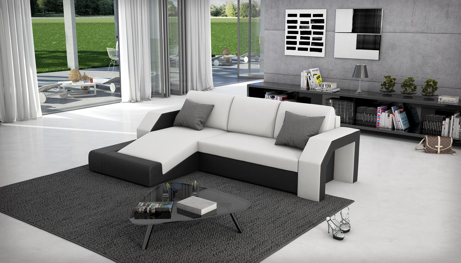 sam schlafsofa wei schwarz ecksofa milagro 145 x 281 cm. Black Bedroom Furniture Sets. Home Design Ideas