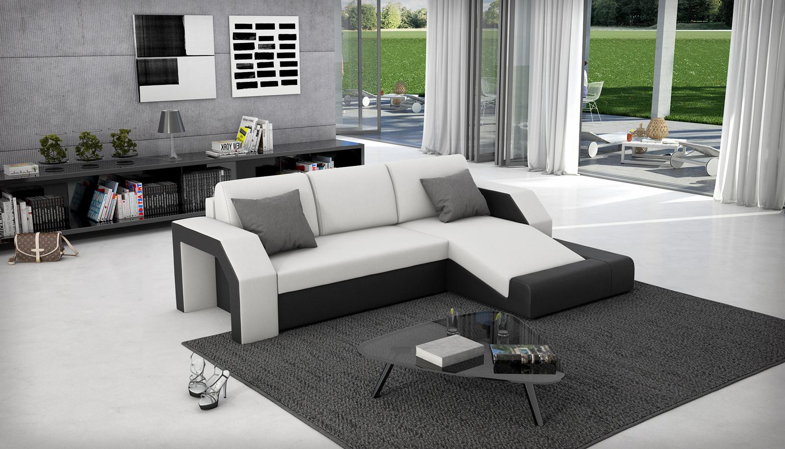 sam schlafsofa wei schwarz ecksofa milagro 281 x 145 cm. Black Bedroom Furniture Sets. Home Design Ideas